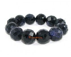 Faceted Blue Goldsand Bracelet (16mm)