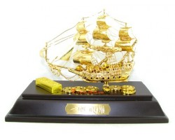 24k Gold Plated Hand-crafted Exquisite Wealth Ship 32gp