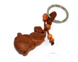 Feng Shui Wulou with Bat and Ling Zhi Wood Keychain