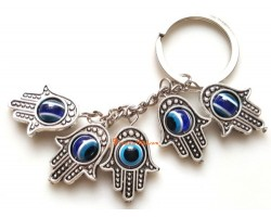 Five Hamsa Blue Evil Eyes Bead Keychain