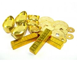 Gold Bars, Ingots and Coins Set