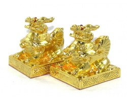 Pair of Golden Brass Pi Yao