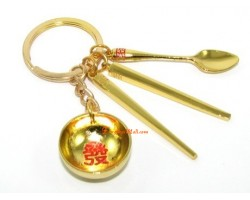 Golden Chinese Bowl Set Keychain