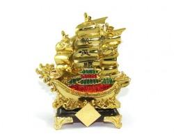 Golden Double Dragon Head Wealth Ship