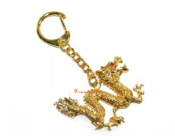 Golden Dragon Feng Shui Keychain