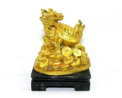 Golden Mini Dragon Tortoise on Treasure