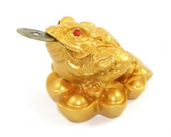 Golden Money Frog on Ingots