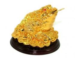 Golden Money Frog on Stack of Treasure