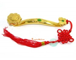 Golden Feng Shui Ruyi with Mystic Knot