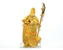 Golden Standing Guan Gong on Glass Base