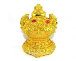 Golden Wealth Pot with Money Frogs for Prosperity Luck