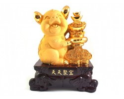 Good Fortune Pig with Stack of Treasures