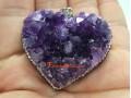 Heart Shape Amethyst Geode Bejewelled Pendant