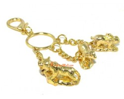 Golden Horoscope Allies and Secret Friend Keyring for Boar