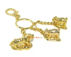 Golden Horoscope Allies and Secret Friend Keyring for Horse