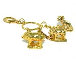 Golden Horoscope Allies and Secret Friend Keyring for Rabbit