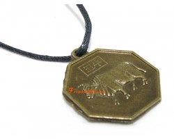 Horoscope Coin Pendant Amulet - Cow