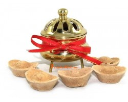 Golden Incense Burner with 5 Ingot Incense