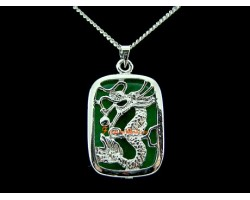 Jade Dragon Pendant with Stainless Steel Chain