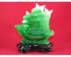 Jadeite Double Dragon Feng Shui Wealth Ship