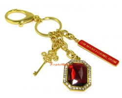 Key to Success Red Jewel Om Mani Keychain