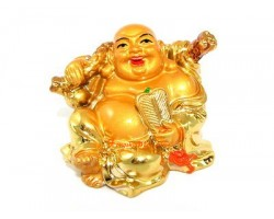 Golden Laughing Buddha with Money Bag and Fan
