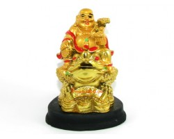 Laughing Buddha Holding Ruyi on Money Frog