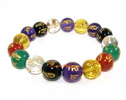 Mixed Crystal Om Mani Padme Hum Bracelet (10mm)