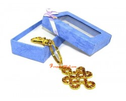 Bejeweled Mystic Knot Lucky Charm Keychain (Yellow)
