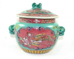 Nyonya Covered Jar with Lid and Ears - Kamcheng