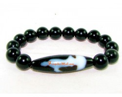 Tibetan Dzi Bead of Your Choice with Obsidian Bracelet