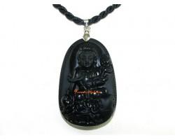 Obsidian Guardian Deity Horoscope Protector Pendant for Dragon & Snake