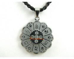 Om Mani Padme Hum Lotus Pendant (Stainless Steel)