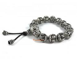 Om Mani Padme Hum Lotus Tibetan Silver Beads Bracelet