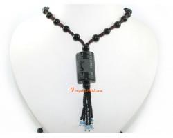 Om Mani Padme Hum Obsidian Bead Necklace