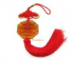 Liuli Temple Lion Biting Swords Tassel (Orange)