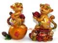 Pair of Auspicious Monkeys on Peach and Wealth