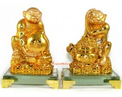 Pair of Auspicious Monkeys with Peach and Wealth Pot