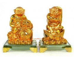 Pair of Auspicious Monkeys with Wealth Bag and Gold Ingot
