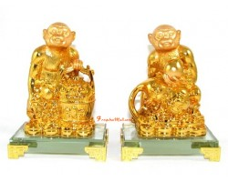 Pair of Auspicious Monkeys with Wu Lou and Wealth Pot
