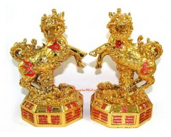 Pair of Golden Chi Lin on Bagua with Auspicious Objects