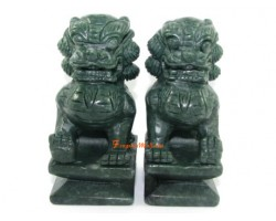 Pair of Green Stone Feng Shui Fu Dogs
