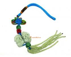 Pair of Jade Pi Yao Amulet Feng Shui Hanging