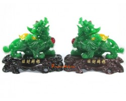 Pair of Jadeite Good Fortune Fengshui Pi Yao