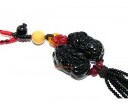 Pair of Obsidian Feng Shui Piyao Beaded Tassel