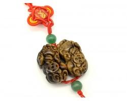 Pair of Tiger's Eye Feng Shui Pi Yao Beaded Tassel