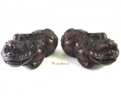 Pair of Wooden Fortune Pi Yao