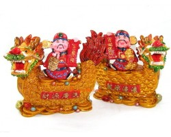 Pair of Wealth Gods on Good Fortune Dragons