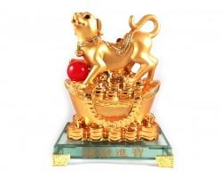 Prosperity Golden Dog with Gold Ingot