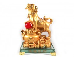 Prosperity Golden Dog with Wealth Pot